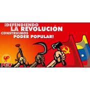 Venezuela Komünist Partisi'nin 'Devrimi savunmak için' belgili afişi